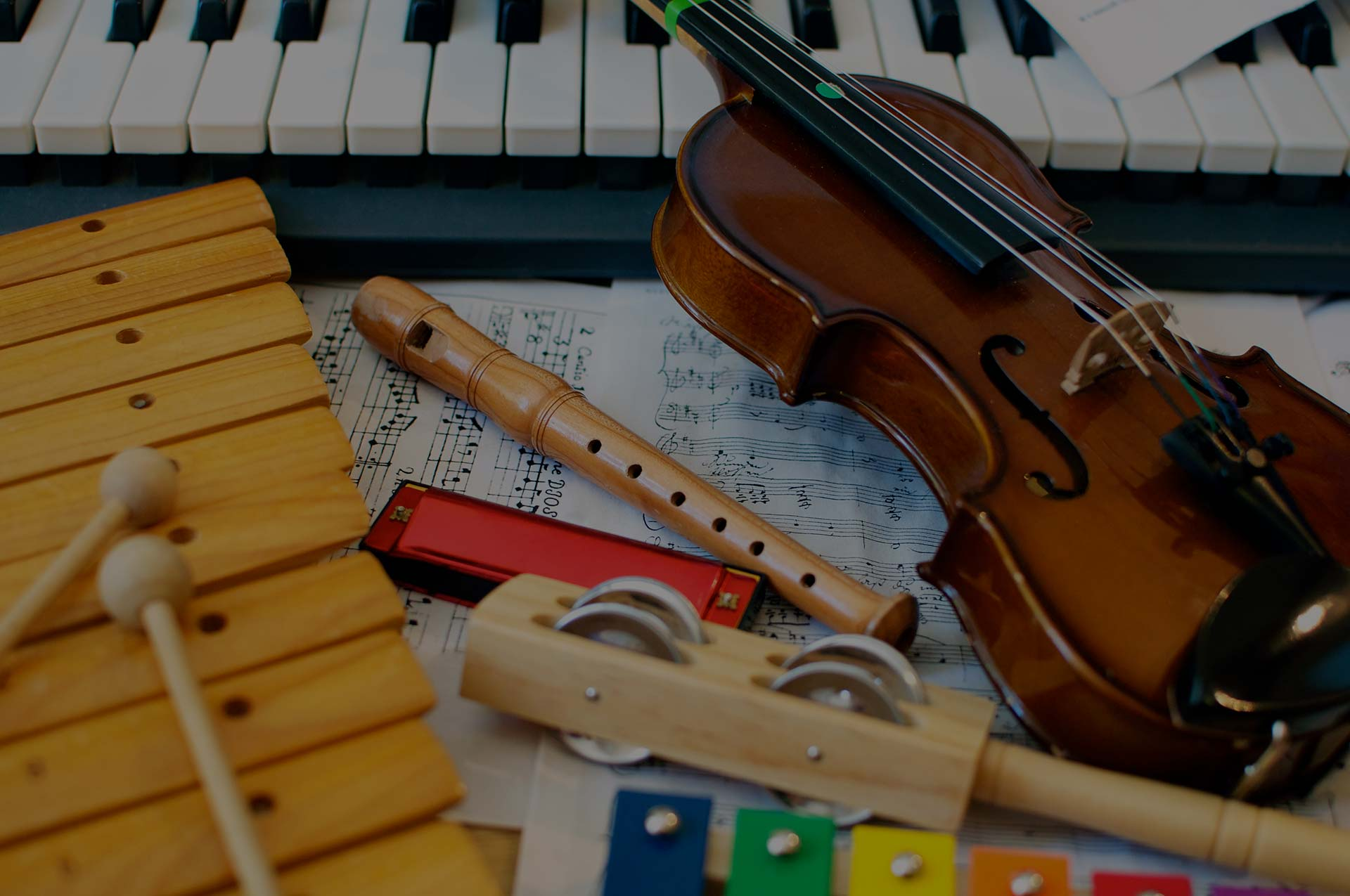 Collection of instruments for children to learn