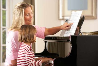 Piano teacher and little girl